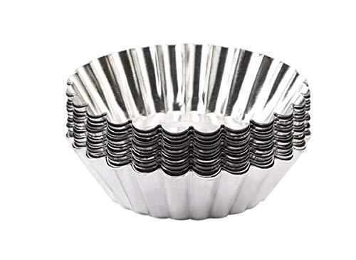Mvchifay 10 Pcs Egg Tart Stainless Steel Mini Cupcake Mold Non Stick Cake Cookie Liner Heatresistant Home Baking Pie Tins Style 2