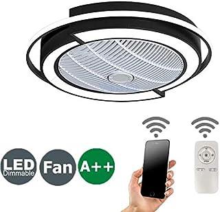 Ventilador De Techo 72W LED Lámpara Creative Regulable Ventilador De Techo Invisible Lámpara Luz De Techo Del Ventilador De Bajo Ruido Adecuado Para Sala De Estar Dormitorio Habitación Infantil