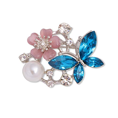 WANGJIAHAO Broche De Flor De Perlas Y Diamantes, Broche De Mariposa De Cristal Azul, Clip De Pasador De Bufanda De Seda Antideslumbrante, 2 Pasadores De Cuello De Abrigo De Suéter