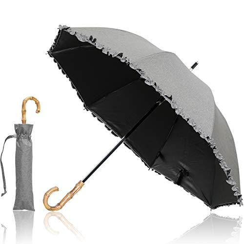 Ombrage 完全遮光 2段式 折りたたみ 日傘 親骨50cm 晴雨兼用 【フリル/ダンガリー生地(グレー)】 スチールシャフト UVカット UPF50+ 紫外線対策 遮熱加工 グラスファイバー 梅雨 超撥水