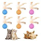 Olymajy 6 Pcs Bolas interactivas Gatos ,Pelotas para Gatos Mascotas Gatos Juguetescon Plumas de Cola Bolas de Gato Juguete Interactivo con Plumas para Gatos Limpiar los Dientes, Jugar, Entrenar