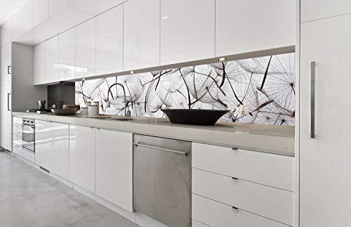DIMEX LINE Küchenrückwand Folie selbstklebend LÖWENZAHNSAMEN 350 x 60 cm | Klebefolie - Dekofolie - Spritzschutz für Küche | Premium QUALITÄT