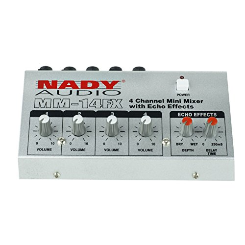 "Nady MM-14FX 4-Channel Microphone Mixer with integrated echo effect – ¼"" Inputs & output – Delay time & Depth controls"