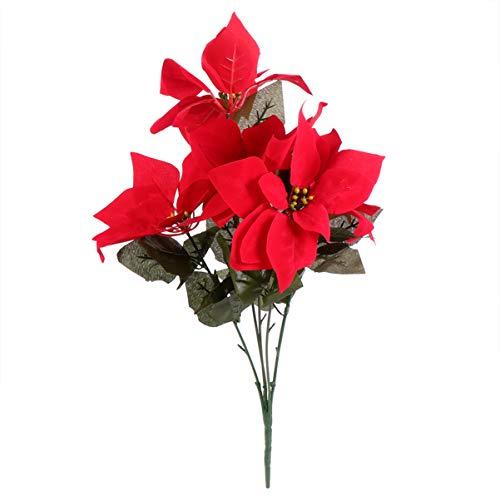 Healifty 2Pcs Weihnachten Weihnachtsstern Blumen Künstliche Weihnachtsstern Weihnachtsbaum Ornamente Tischplatte Blumenzubehör Weihnachten nach Hause Haustür Dekorationen