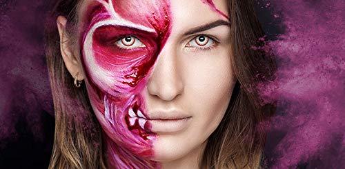 aricona Farblinsen – deckend weiß – farbige Kontaktlinsen ohne Stärke – Zombie Night Augenlinsen für Halloween, bunte 12 Monatslinsen - 5