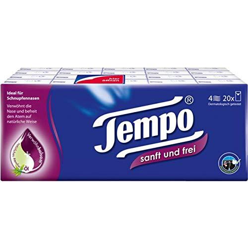 Tempo Tempo Taschentücher sanft und frei, 20 x 9 Papiertaschentücher, 4-lagig, waschmaschinenfest, 0.74 g 830312 Hell 20 Stück (1er Pack)