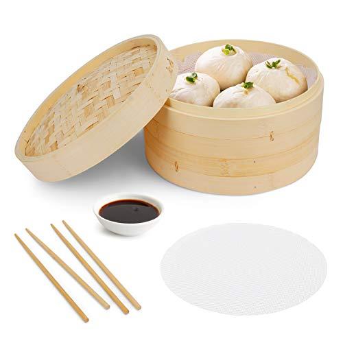 BestCool Bambus Dampfgarer, 2 Etagen Bambusdämpfer 10-Zoll-Dim-Sum-Dampfgarer-Instant-Topfzubehör mit 2 Silikon-Kochmatten und 2 Paar Essstäbchen für Reis, Knödel, Gemüse, Fleisch und Fisch