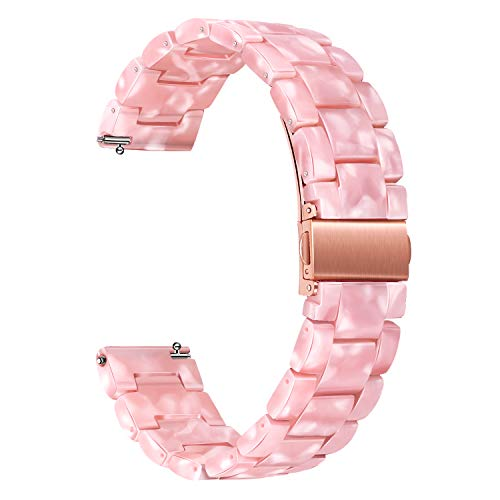 TRUMiRR Band for Samsung Galaxy Watch 42mm / Watch 4 40mm / Active 2 40mm 44mm, 20mm Quick Release Resin Watchband Rose Gold Stainless Steel Buckle Strap for Garmin Vivoactive 3 / Venu