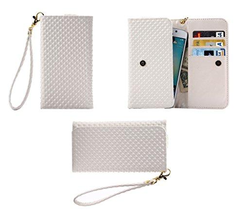 DFVmobile - Etui Tasche Schutzhülle mit Designperle Rasterfeld Gewebe mit Kartenfächer für JIAYU G2F - Weiß