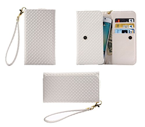 DFVmobile - Etui Tasche Schutzhülle mit Designperle Rasterfeld Gewebe mit Kartenfächer für JiaYu G5 - Weiß