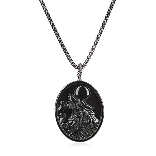 coai Mens Womens Obsidian Stone Wolf Amulet Pendant Necklace Stainless Steel Chain
