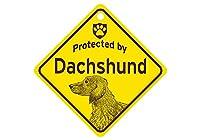 Protected by Dachshund スモールサインボード:ダックスフンド(ロング) 監視中 ミニ看板 アメリカ製 Made in U.S.A [並行輸入品]