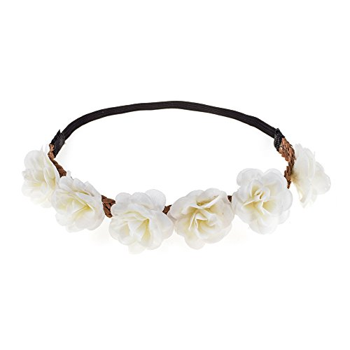 Love Sweety Rose Flower Wreath Headband Floral Crown Garland Halo for Wedding HH14 - White - One Size