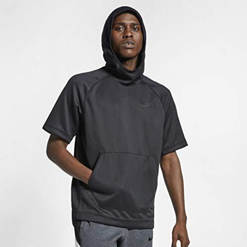 Nike Men's Dry Spotlight Basketball Dri Fit Short Sleeve Hoodie (Black/White, Medium)