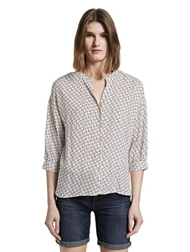 TOM TAILOR Damen Blusen, Shirts & Hemden Gemusterte Bluse im Loose Fit White...