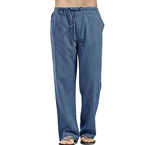MURTIAL Men's Linen Pants Casual Elastic Waist Drawstring Sport Work Home Beach Cabana Trousers(Blue,M)