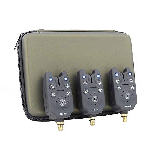 Hirisi Tackle® Fishing Bite Alarms Set 3pcs for Carp Fishing in Zipped Protection Case