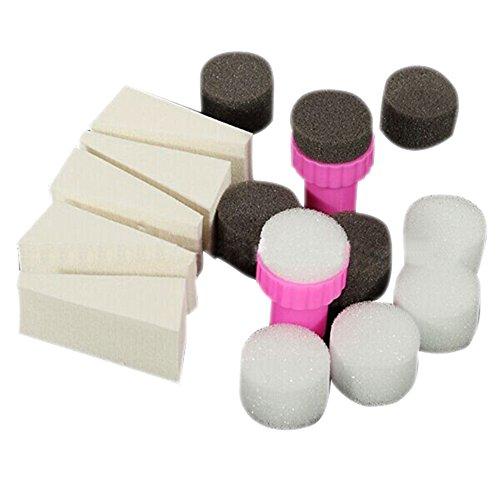Bodhi2000 1 Set de nail art Eponge Tampon Stamper Abat-jour transfert Modèle polonais Outil de manucure