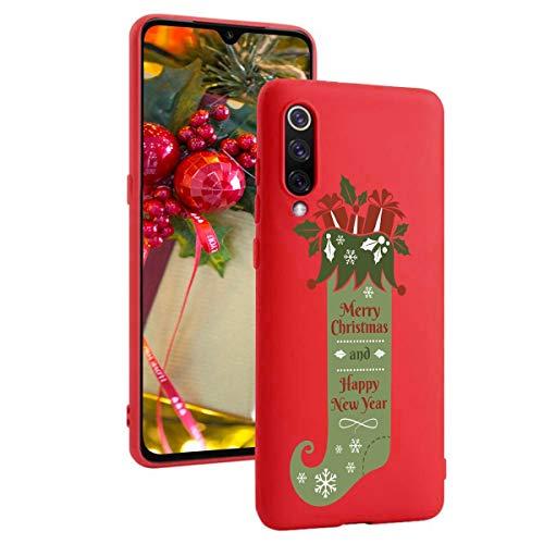 ZhuoFan Funda para Xiaomi Mi 9, Cárcasa Silicona Rojo 3D con Dibujos Navidad Diseño Suave Gel TPU Antigolpes de...