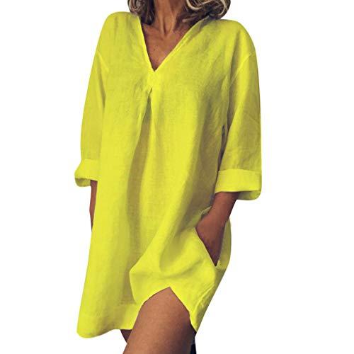 iYmitz Damen Sommerkleid Einfarbig Leinen V-Ausschnitt Minikleid Freizeit Kurzarm Lose Kleider Für Frauen
