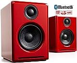 Enceintes PC sans-Fil Audioengine A2+ Amplifiées 60W | DAC 24Bit & Amplificateur Intégrés | Codec aptX Bluetooth, Connexion Directe USB, Entrées 3.5mm and RCA Phono (Bluetooth, Rouge)