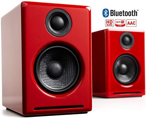 Audioengine A2+ Wireless 60W Altavoces de Ordenador con tecnología Avanzada   DAC y Amplificador Incorporado de 24 bits   Bluetooth aptX Codec, conexión USB Directa (Bluetooth, Rojo)