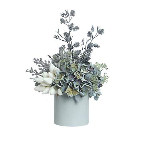 Modern Kunstzijde Bloemen Fake Mooie Blauwe Hydrangea boeket van de bloem met Vaas for Huwelijkfeest Decor (Color : A)