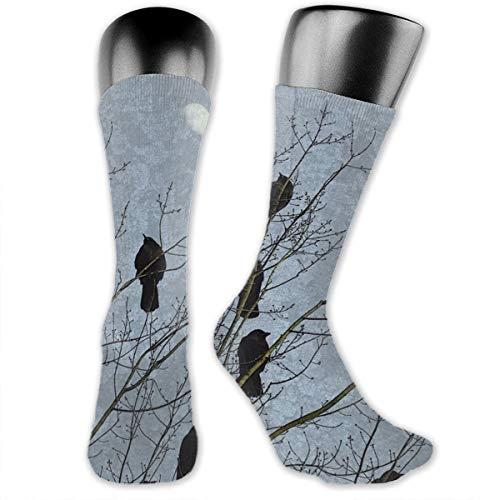 Men & Women Crew Dress Socks, Athletic Socks, Compression Sock for Work Yoga Football, Novelty Socks Medium Cut Slipper Socks (Black Crow Raven Bird sock)