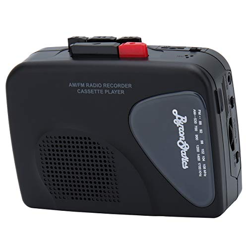 Byron Statics Portable Cassette Players Recorders FM AM Radio Walkman Tape Player Built In Mic External Speakers Manual Record VAS Automatic Stop System 2AA Battery Or USB Power Supply Headphone Black
