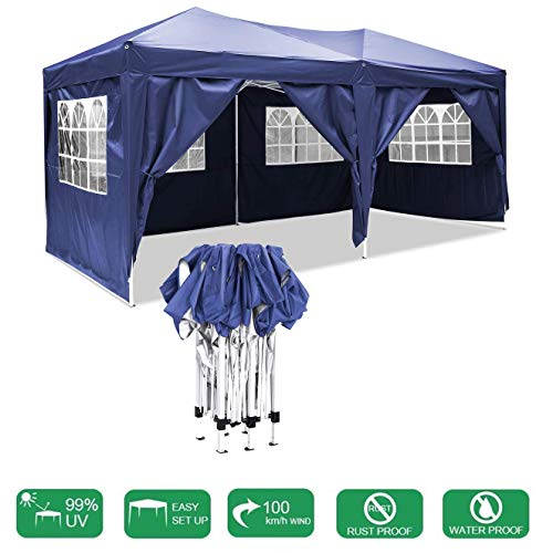 LYXCM Gazebo, 3 X 6m (9.8 X 19.6ft) Waterproof Pop-up Event Shelter Outdoor Event Shelter with Movable Side Wall for Garden Wedding Parties Four Seasons Pavilion