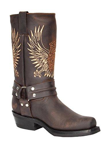 House of Luggage Herren Echte Leder Cowboy Stiefel Western Absatz Wadenlänge Quadrat Zehe Schuhe HLG02BE (EU 41, Braun)