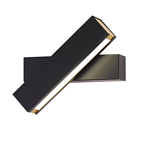 Nordique Post-Moderne Minimaliste LED Lampe de Mur Creative Rotatif Gradation Lecture Murale Chambre Chevet Couloir Salon Décoration Lampes, Noir/Blanc, 4.5 * 20 cm, black