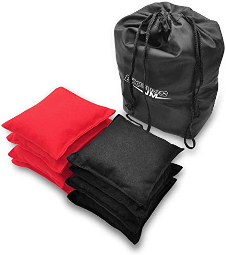 JMEXSUSS Weather Resistant Standard Corn Hole Bags, Set of 8 Regulation Cornhole Bags for Tossing Game (Black/Red)