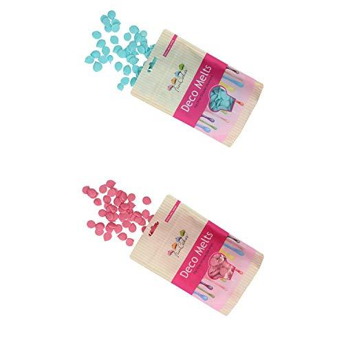 FunCakes - Decor Melts - 250g Ideal para Hacer gotitas o lineas sobre Bombones, piruletas o Cubrir Galletas, Frutas, y Mucho más!- Pack de Colores (Azul Claro y Rosa)