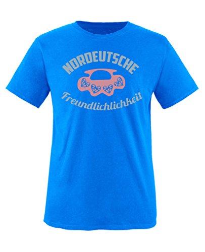 Comedy Shirts T-shirt à col rond 100 % coton pour fille Motif amitié du Nord - Bleu - 5 ans