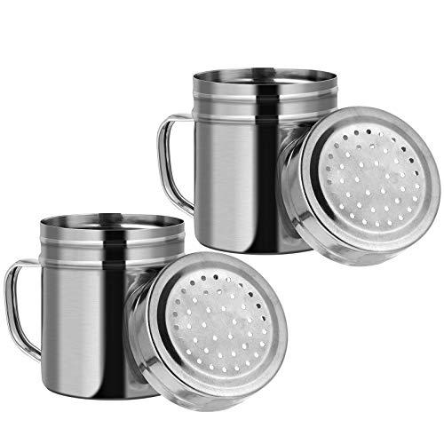 Cabilock 2 Unidades de Agitadores de Sal Y Pimienta de Acero Inoxidable Frasco de Especias de Condimento Contenedor de Dragado Versátil con Mango de Cocina