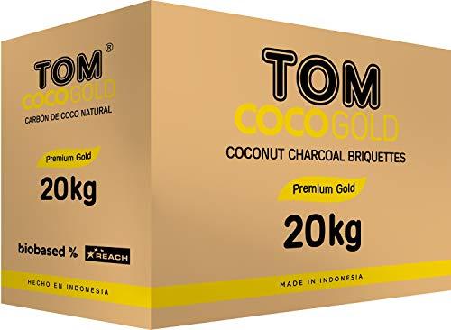 TOM Cococha Gold 20kg, Naturkohle, Shisha-Kohle, Wasserpfeifen-Kohle, 1440 Würfel