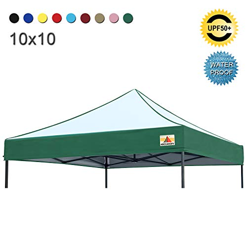 ABCCANOPY Replacement Top Cover 100% Waterproof (18+ Colors) 10x10 Pop Up Canopy Tent Top, Edge Forest Green