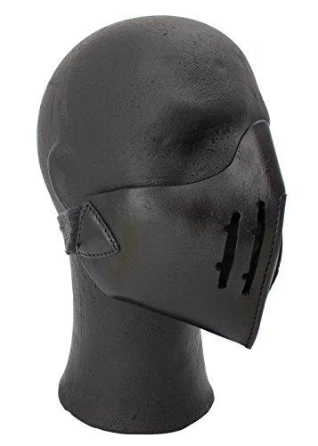 Epic Armoury Mempo Samurai Halbmaske aus Leder LARP Mittelalter Ritter Wikinger (Schwarz)