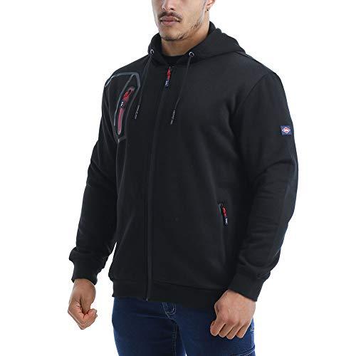 Lee Cooper LCJKT125 abbigliamento da lavoro Mens Full Zip termica abbigliamento da lavoro zip Hoodie Hoody del cappotto del rivestimento, nero, 2X-Large