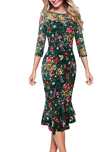 Vfshow Womens Green Lace Multi Floral Print Cocktail Party Casual Elegant Vintage Bodycon Pencil Mermaid Midi Mid-Calf Dress 3631 GRN XL