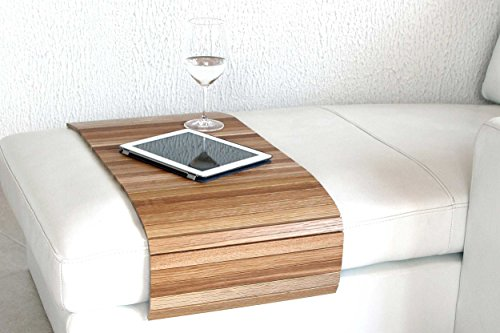 moebelhome Sofatablett Holz groß XL 100cm, Ablage Eiche Massivholz für Hocker oder Longchair Couch Tablett, Hockerablage NEU