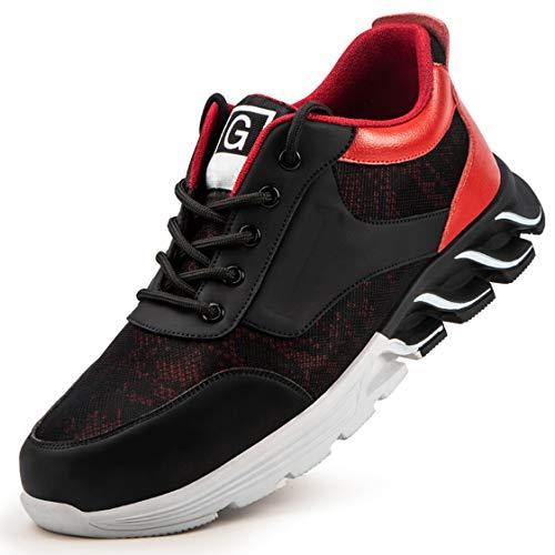 HMAKGG Zapatillas de Seguridad Hombres De Deporte Sin Cordones De Montañismo Deporte Running Zapatos de Trabajo para Correr Gimnasio Sneakers Deportivas Transpirables,Negro,44 EU