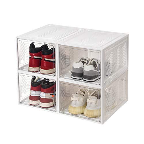 Xgxyklo Caja De Almacenamiento De Zapatos, Frente Abatible Magnético, Organizador De Zapatos De Plástico Apilable, para Ahorrar Espacio, Necesita Ser Ensamblado,Blanco,4 Pack