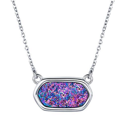 Silver Necklace Bracelet in Purple Druzy by WISHMISS