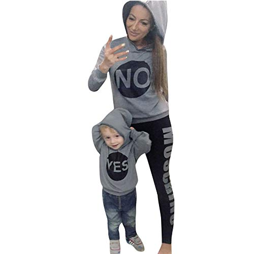 LUCKDE Mama Tochter Partnerlook, Langarmshirt Damen Baby Kleidung Mädchen Sweatshirt Mädchen Hoodie Damen Familien Kleidung Matching Outfits Mother Daughter Mutter Kleid (M, Graue(Mutter))