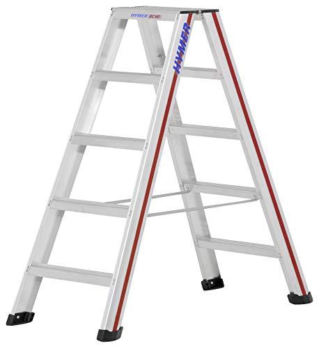 Hymer 602410 Stufenstehleiter 2x5 Stufen (beidseitig begehbar, Spreizsicherung, große Leiterschuhe, Standhöhe ca. 0,67 m)