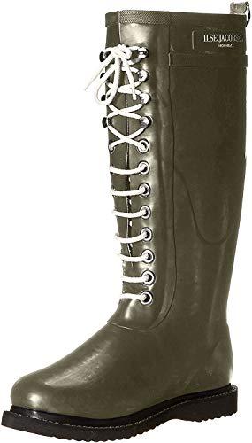 ILSE JACOBSEN HORNBÆK | RUB1 | Damen Gummistiefel | Natur Bio Gummi PVC frei | Lange Stiefel mit Schnürsenkel aus Baumwoll | Dänisches Design | Army | 36 EU