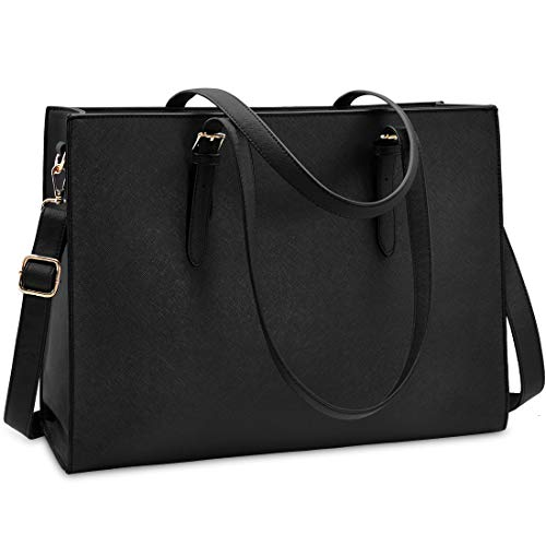 Laptop Bag for Women Waterproof Lightweight Leather 15.6 Inch Computer Tote Bag Business Office Briefcase Large Capacity Handbag Shoulder Bag Professional Office Work Bag Black