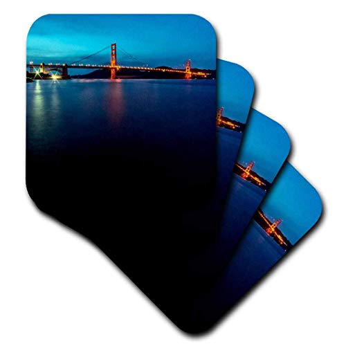 Set of 8 Coasters for Drinks Wood Absorbent Drink Coaster Golden Gate Bridge View Tabletop Furniture Protection Decorations for Home Kitchen Bar Housewarming Gifts 8 Piece